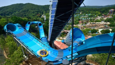 Looking down from the top of Caribbean Bay Korea's Mega Storm tube ride