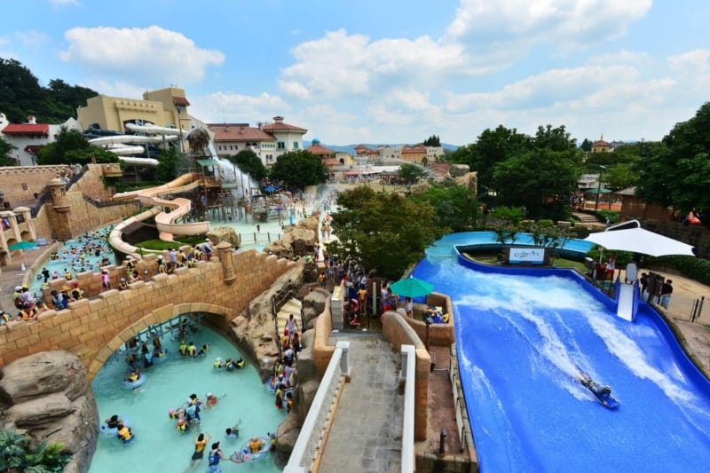 People enjoying the slides at Carribean Bay Water Park in Yongin near Seoul