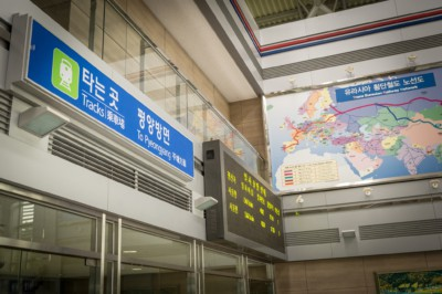 An information board directing passengers to board the train for Pyongyang at Dorasan Station located inside the DMZ