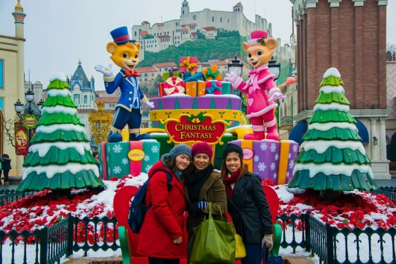 At Everland theme park during Christmas