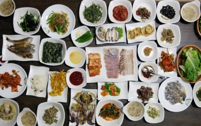 A table covered with many Korean dishes known as Hanjeongsik