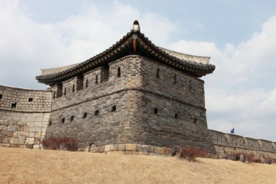 One of the military structures at Hwaseong Fortress used to defend the walls.