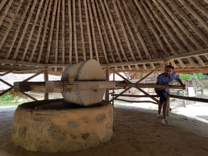 A man at the Korean Folk Village in Yongin grinding wheat with a traditional Millstone