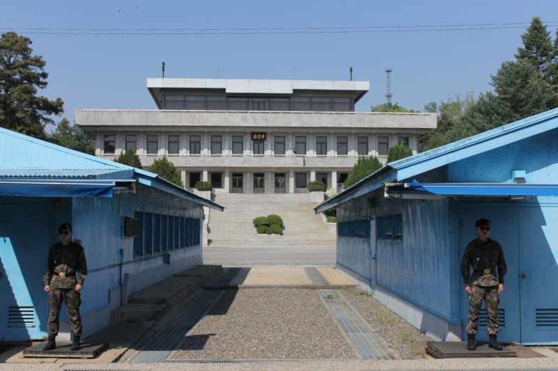 Looking at Panmungak from Freedom House during our DMZ JSA tour