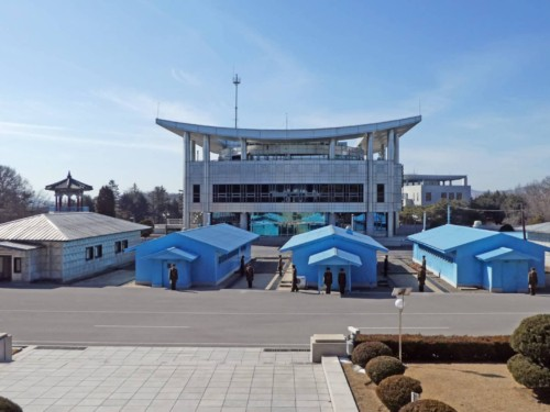 View of the Panmunjom JSA border guards protecting the truce village