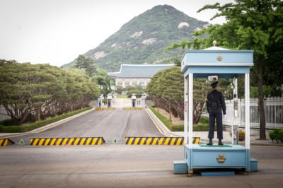 Outside Cheongwadae or better known as the Blue House which is South Korea's presidential residence