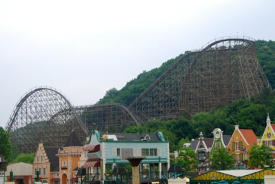 Looking at Everland Theme Park Korea's famous T-Express wooden roller coaster ride from a far