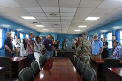 A photo taken of our tour group inside the UNCMAC Conference Room during our Panmunjom tour