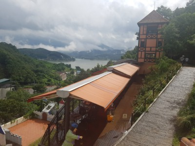 Looking downwards at beautiful views from Petite France in Gapyeong
