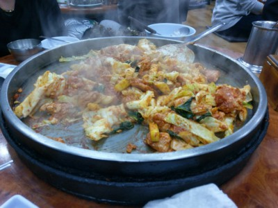 Dak-Galbi being cooked on the table