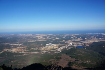 Beautiful views of the east sea from Gwongeumseong Fortress an be seen from a distances