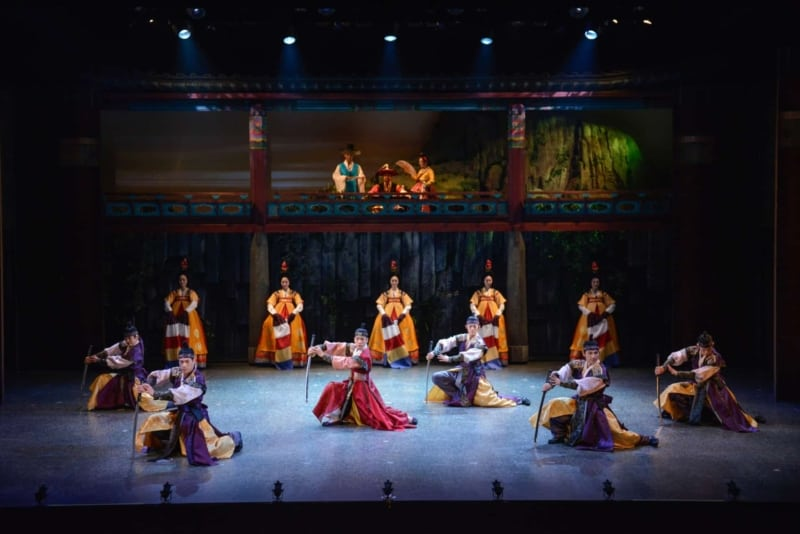 Watching a performance at Jeongdong Theatre