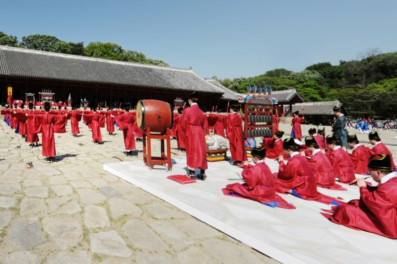 Jongmyo Jerye ritual being performed at Jongmyo Shrine