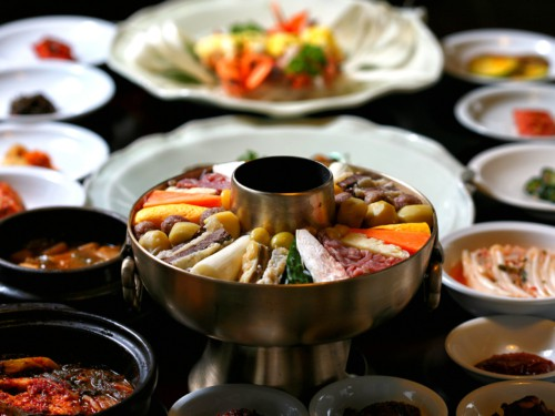 Traditional Korean style full course meal being served at Korea House