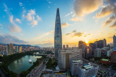 A view of the beautiful Gangnam district of Seoul focusing on the elegant Lotte Tower building