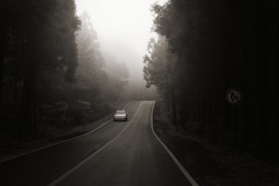 Car driving down the mysterious road on a dark and foggy day