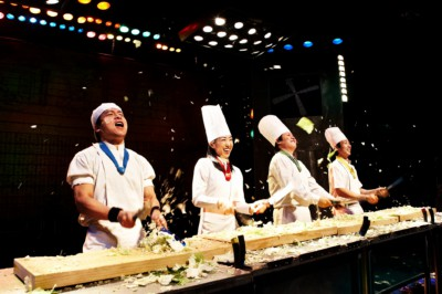 The Nanta cast during a performance of their non-verbal comedy show based on cooking