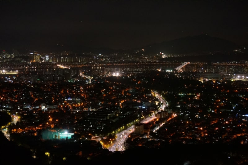 Night view of the city from North Seoul Tower