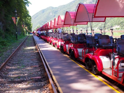 At Gangchon Rail Park getting ready to go rail biking