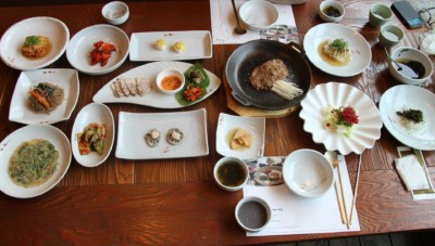 A traditional Korean meal known as Hanjeongsik comes with lots of side dishes