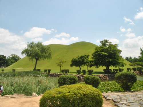 The beautiful burial mounds of the Silla rulers inside Tumuli Park in Gyeongju