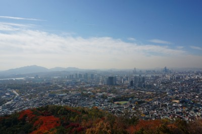 The view of Seoul city from Namsan tower