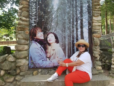 A guest taking one of our drama tours and visiting Nami Island, the filming location of Winter Sonata
