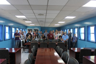 A group photo of our tour group during a tour of the DMZ