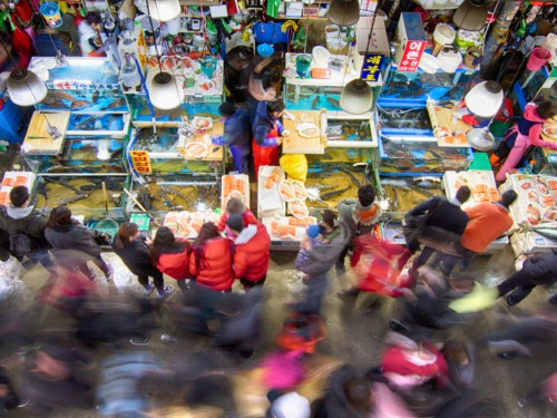 People purchasing seafood from a busy Noryangjin Fisheries Wholesale Market in Seoul