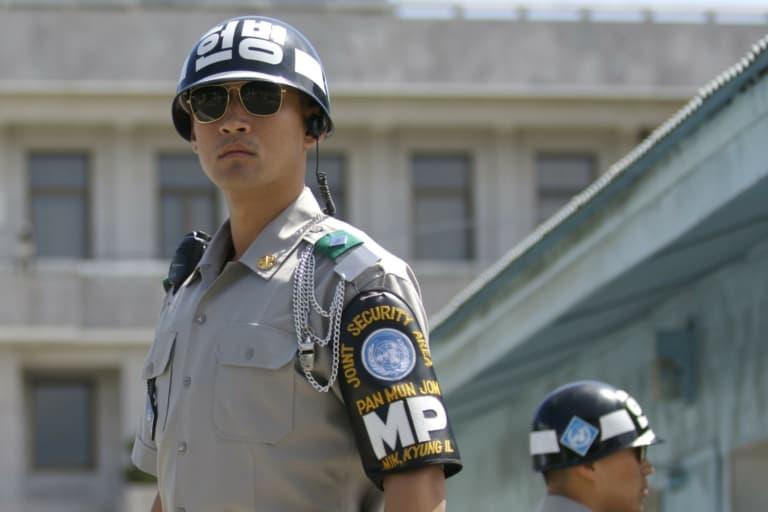 South Korean JSA border guard wearing sunglass at the DMZ in Korea