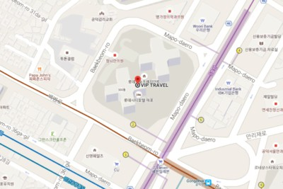 An image of a map pin pointing the location of VIP Travel's office